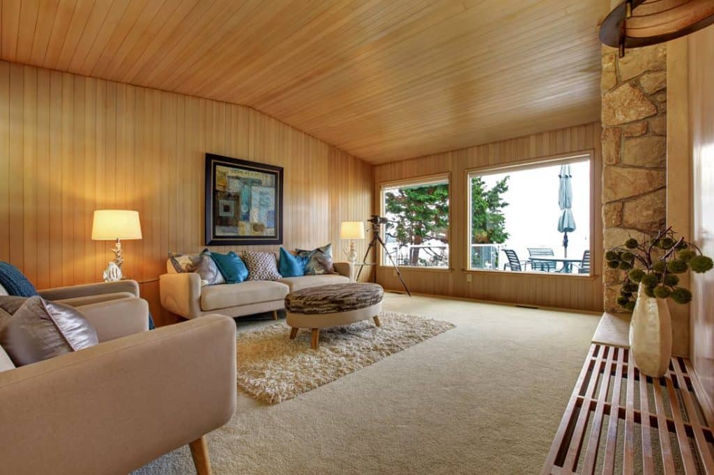 Cozy living room interior in wooden house with carpet, couch and throw pillows
