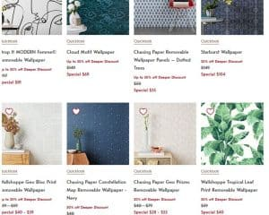 West Elm website product page for wallpapers