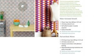 Spoonflower website product page for wallpapers