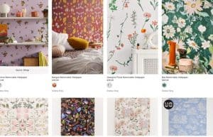 Urban Outfitters website product page for wallpapers