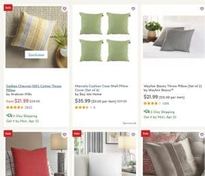 Wayfair website product page for throw pillows