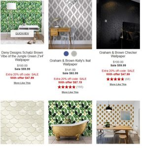 Macy's website product page for wallpapers