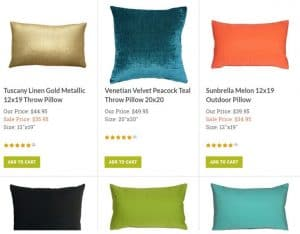Pillow Décor website product page