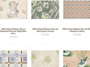 Rosie's Vintage Wallpaper website product page for wallpapers
