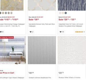 Overstock website product page for wallpapers