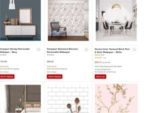 Target website product page for wallpapers