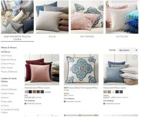 Pottery Barn website product page