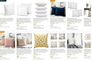 Amazon website page for throw pillows