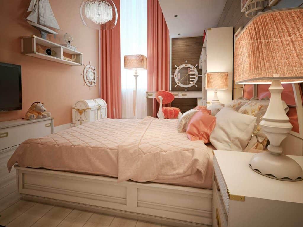 Interior of a teenage girls bedroom with vintage designed furnitures