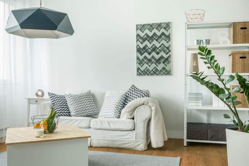 Modern interior of a brightly lit living room, a small white sofa with interest pillows