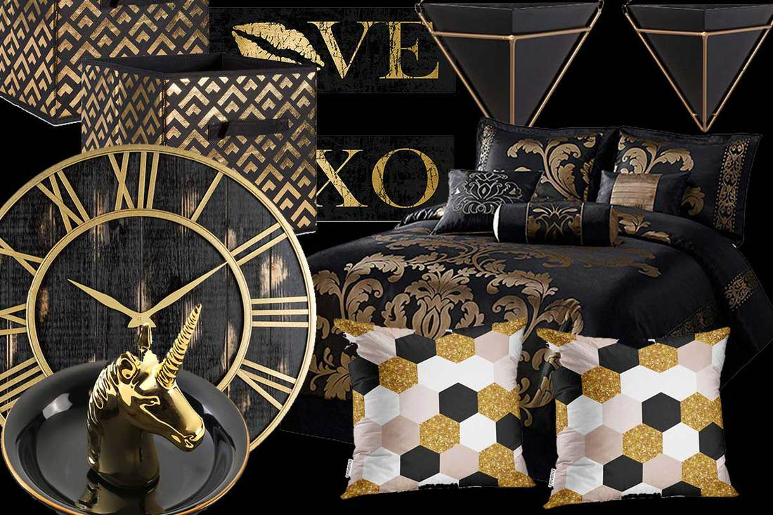 21 Black And Gold Bedroom Accessories