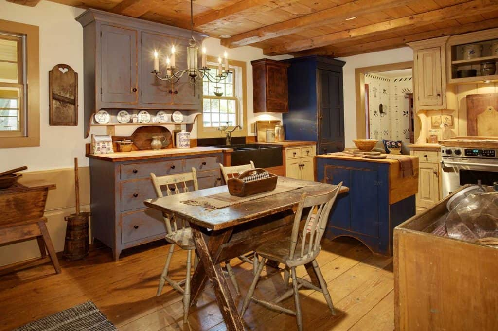 18th century colonial style kitchen with antique materials