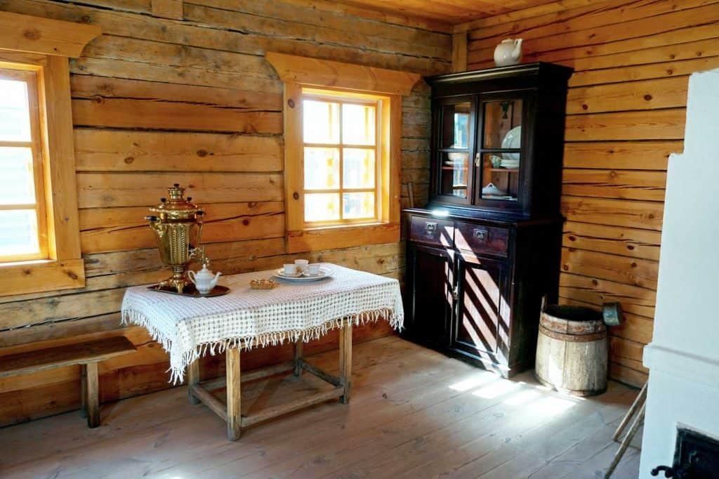 Basic kitchen in a rustic village retro style farm hut