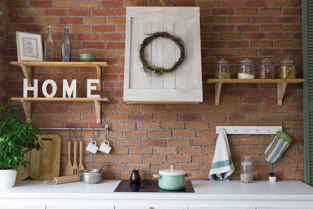 Brick-walled rustic kitchen