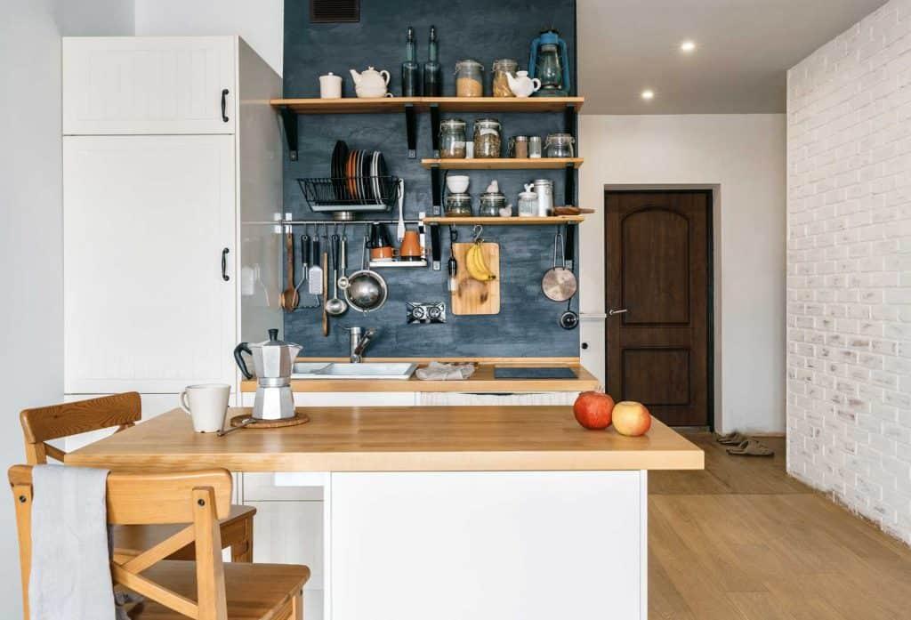 Compact rustic loft kitchen