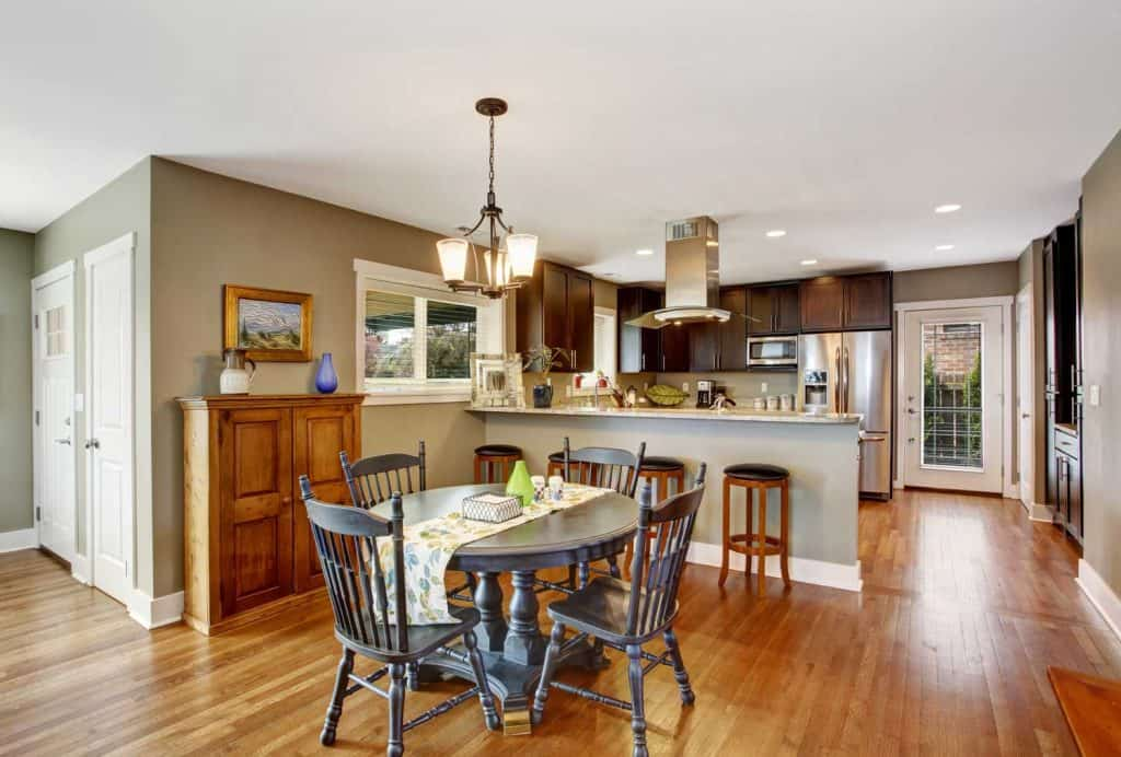 Dark brown kitchen room with round rustic dining table and chairs