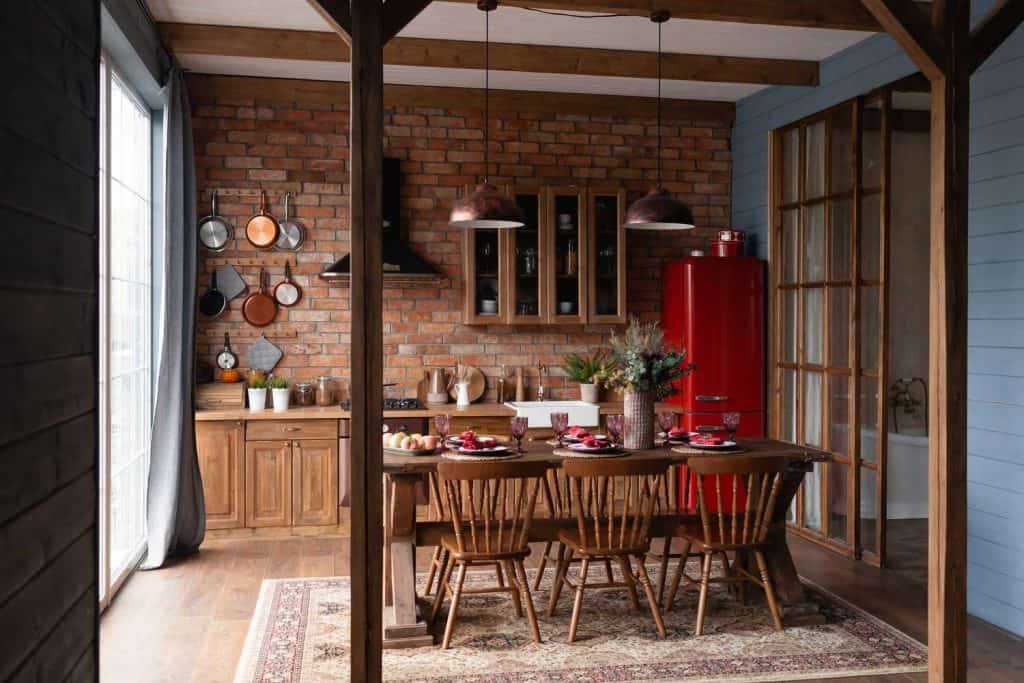 Loft-style rustic kitchen in a country house