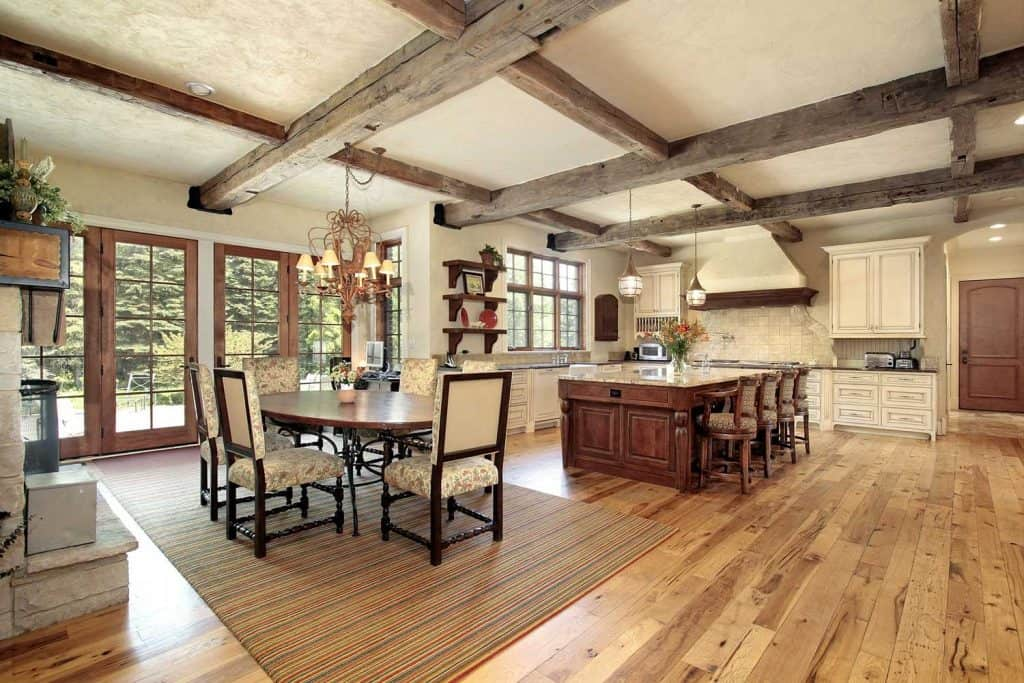 Luxurious rustic kitchen complete with oak beams and woodern floors