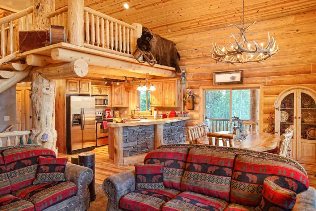 Modern appliances inside a traditional log cabin rustic kitchen