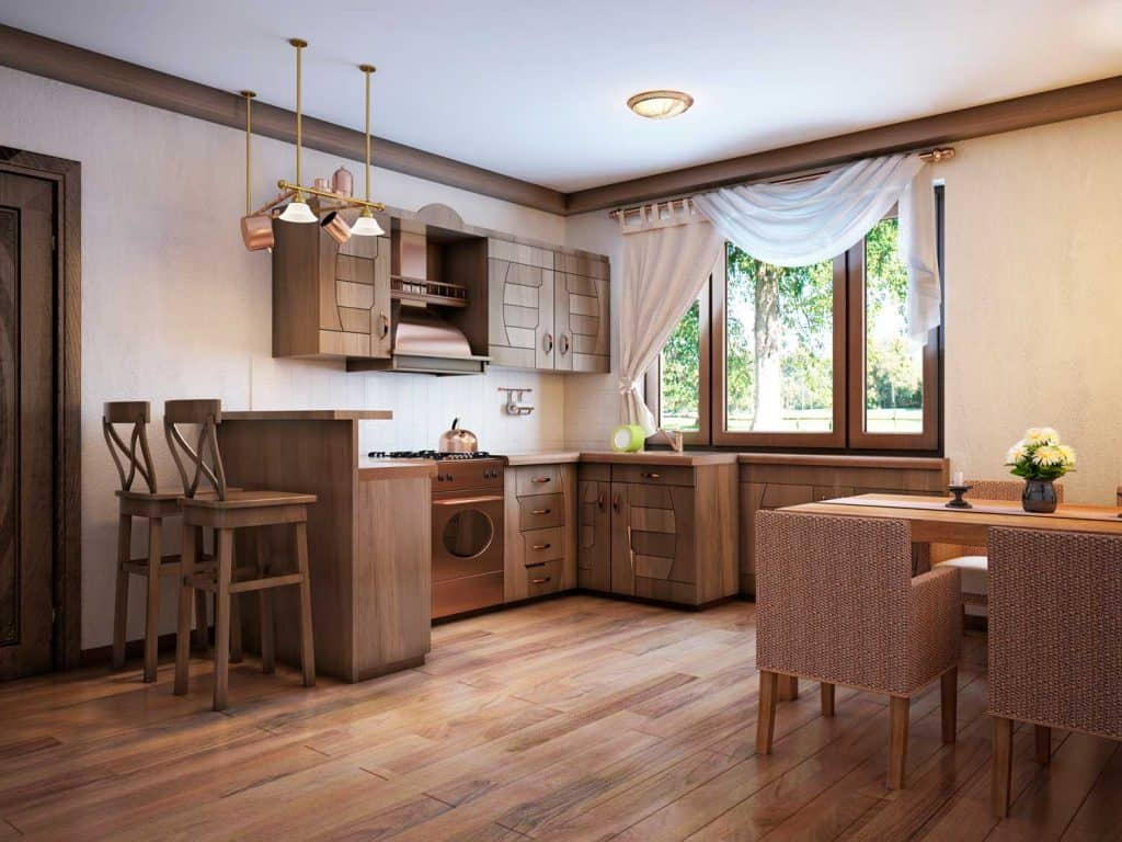 Rustic kitchen with a modern wooden interior