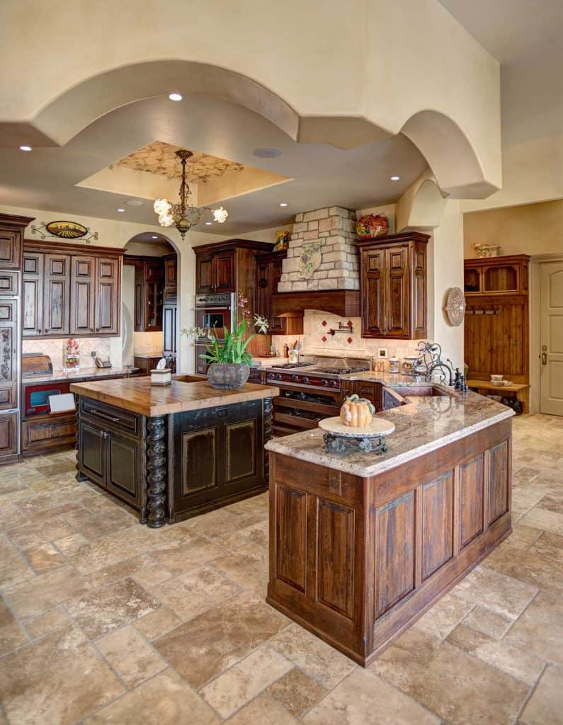 Wood dominated rustic kitchen in a mansion