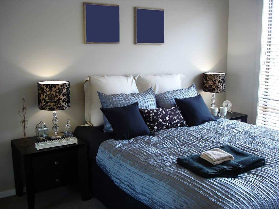 A sophisticated palette of blue in this master bedroom in a modern contemporary home