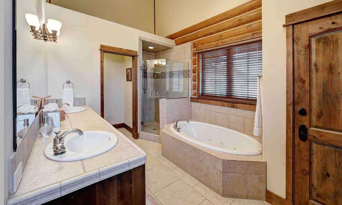Bathroom in a rustic log cabin