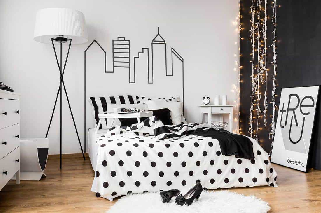 Black and white bedroom interior for trendy woman
