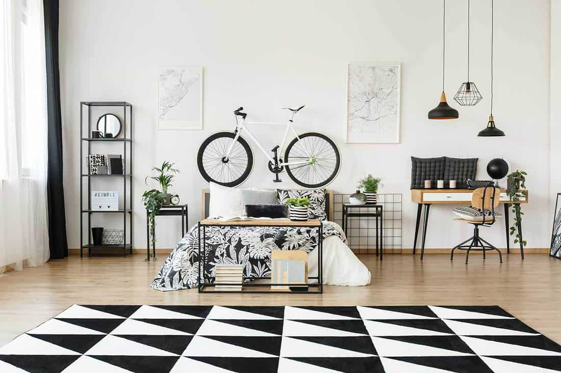 Black and white bedroom with bicycle on the wall