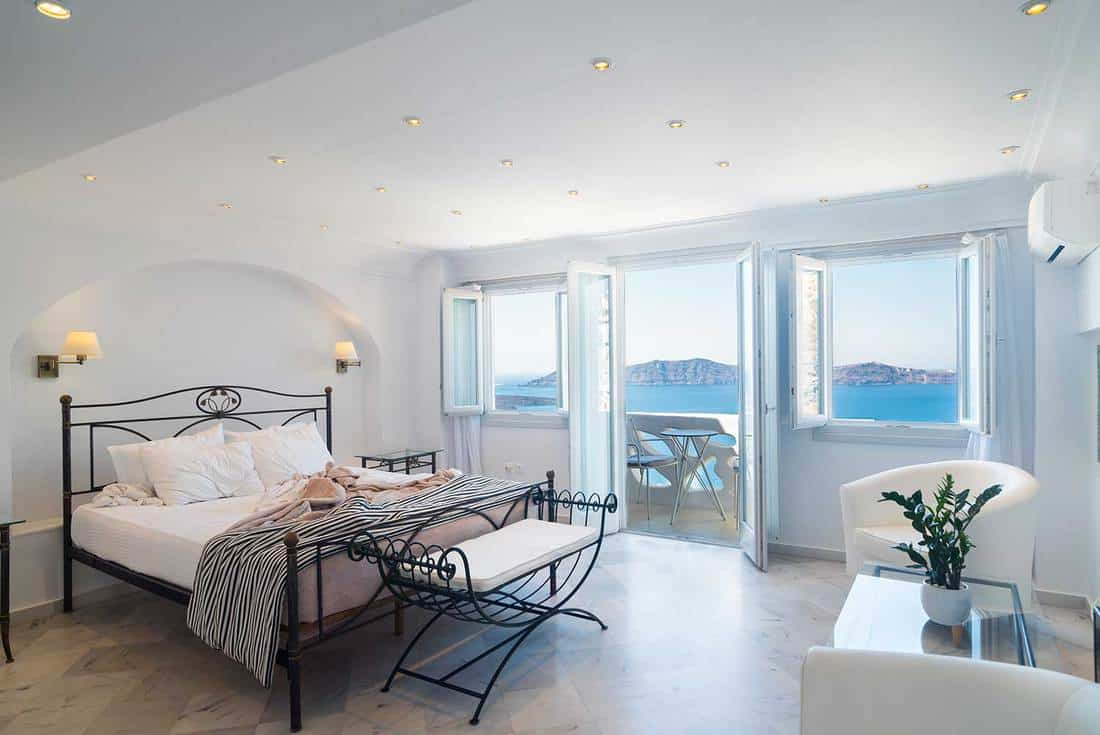 Black and white bedroom with ocean view