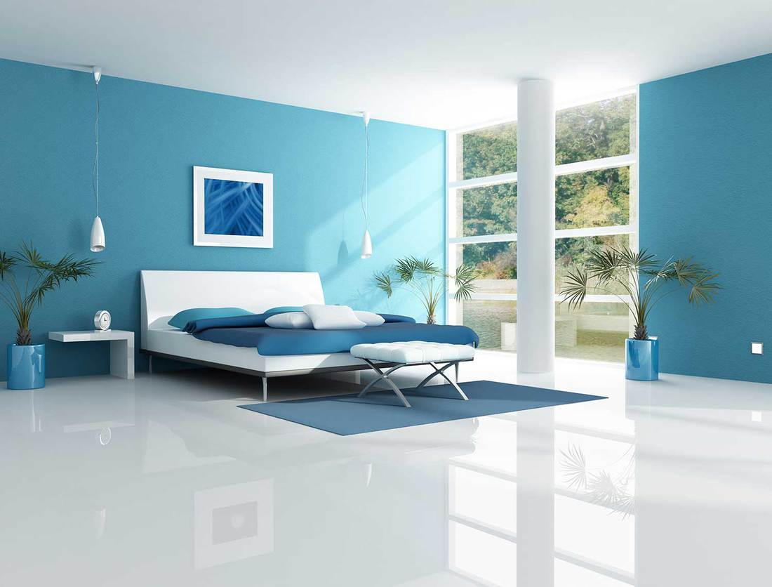 Blue bedroom in a lake house