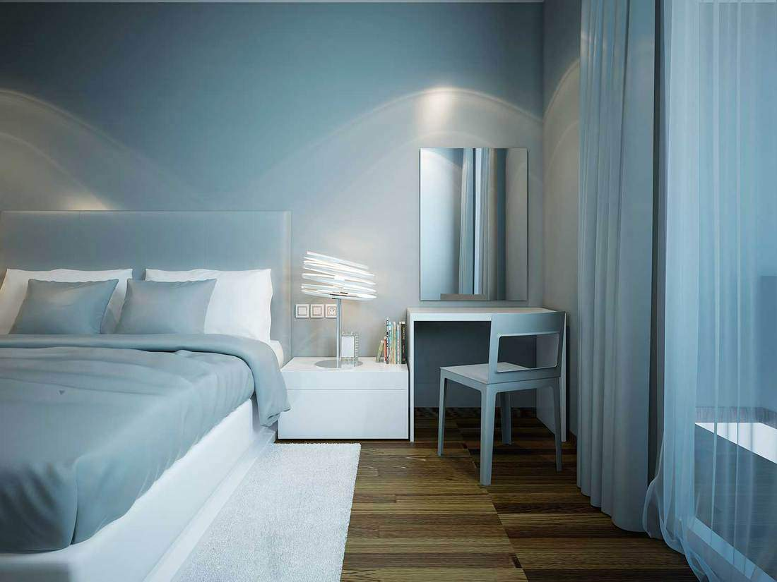 Blue bedroom techno style with brown parquet flooring