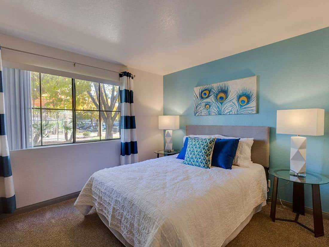 Blue peacock themed bedroom