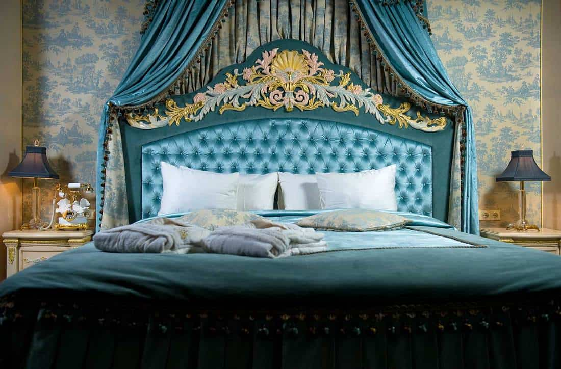 Blue themed luxury hotel room