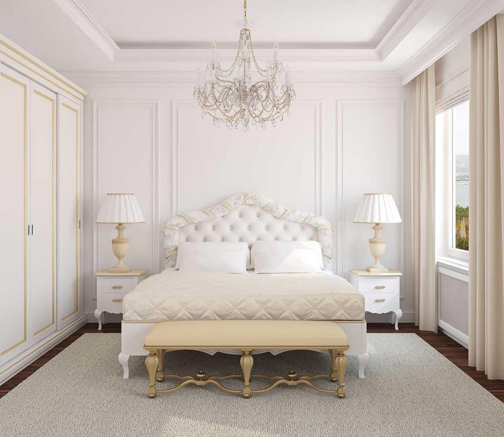 Classic white bedroom interior with wardrobe