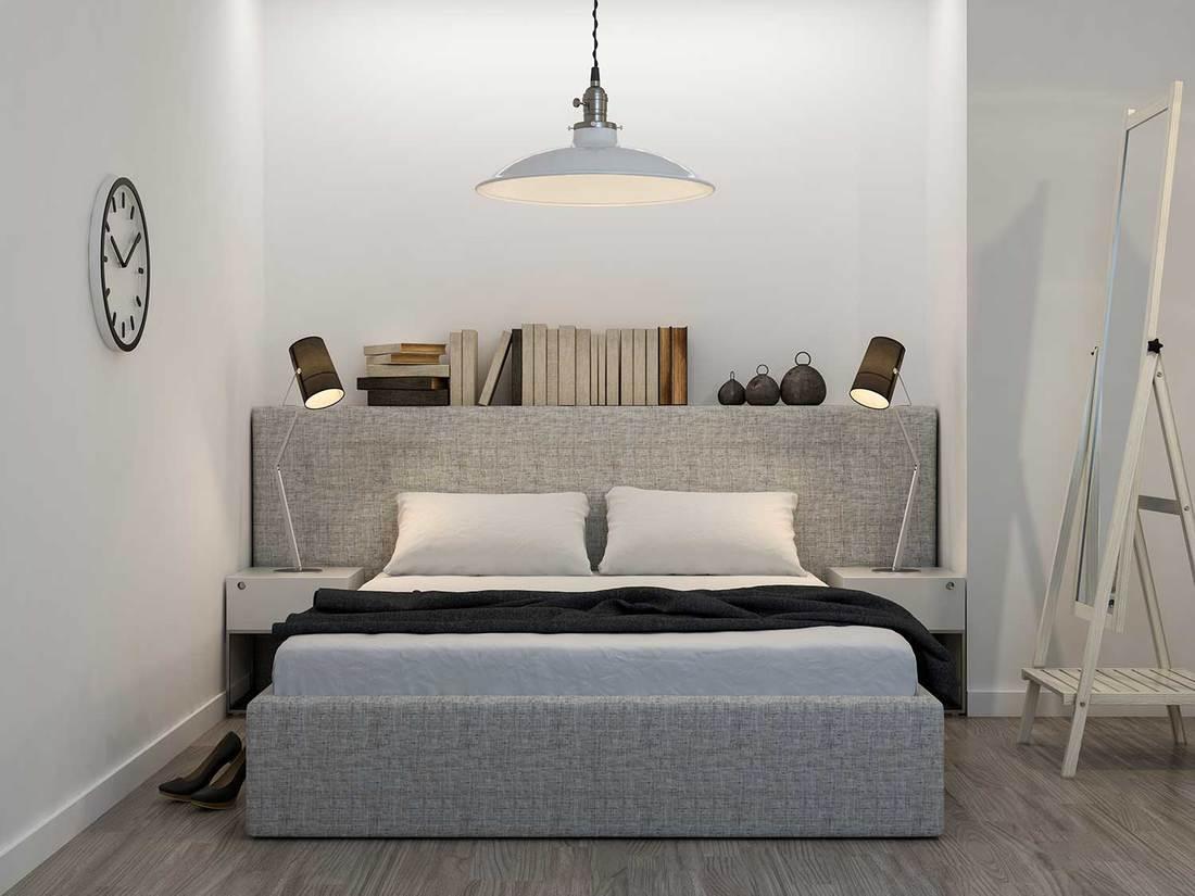 Classy grey bedroom interior