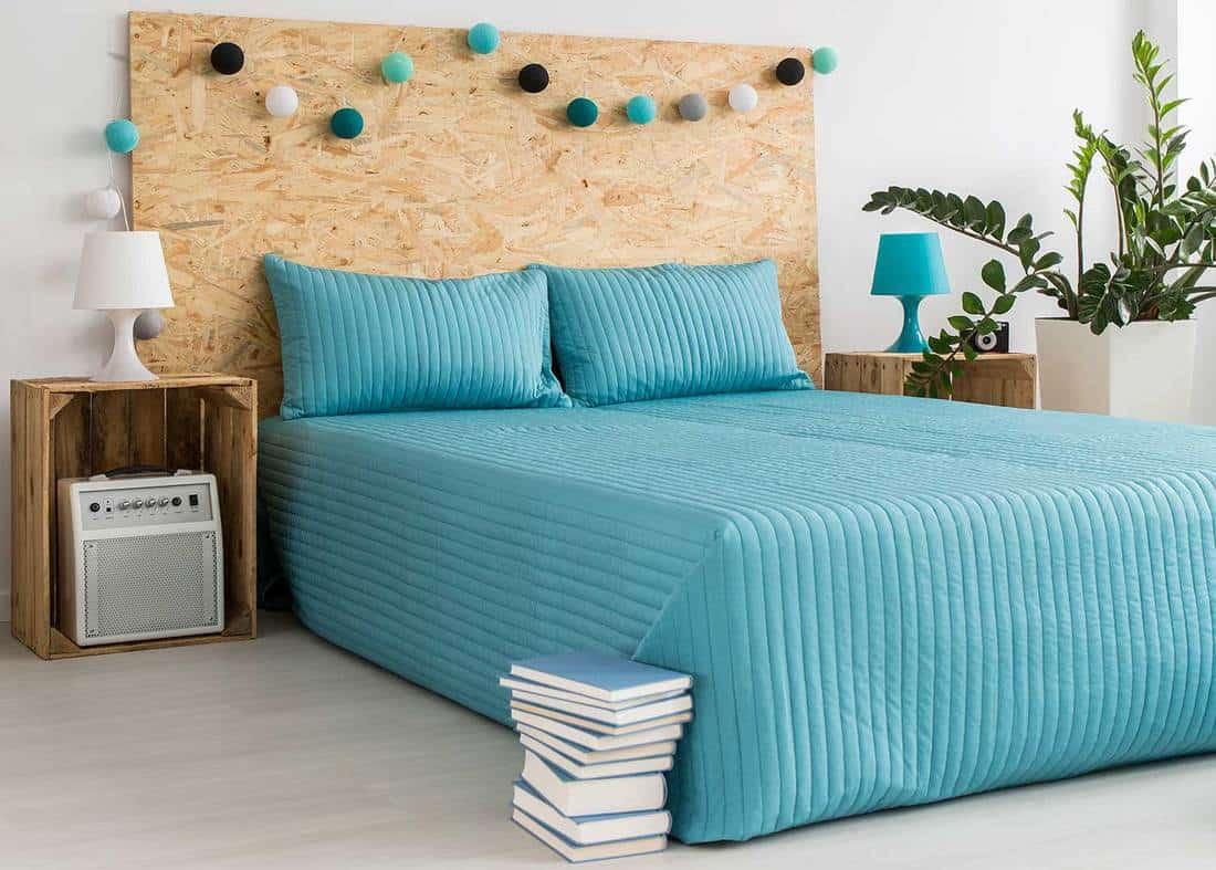 Cotton ball lights in blue modern bedroom