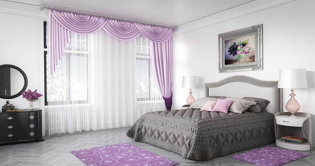 Cozy grey and purple themed modern bedroom