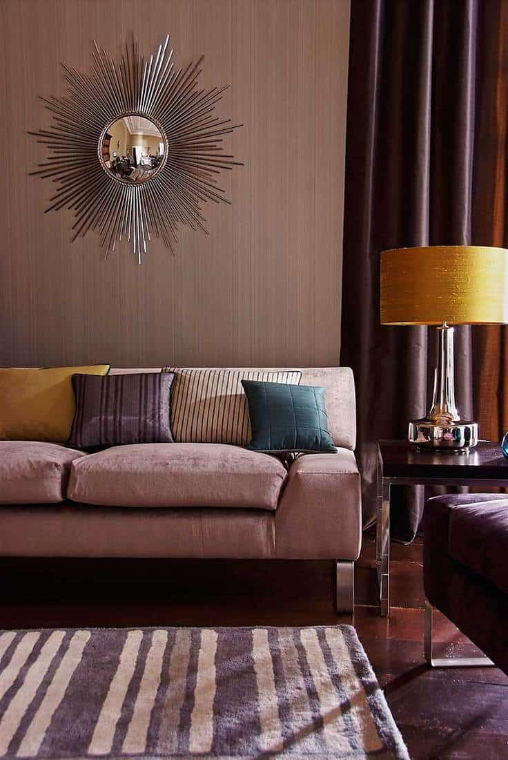 Interior of three seater sofa in eclectic living room