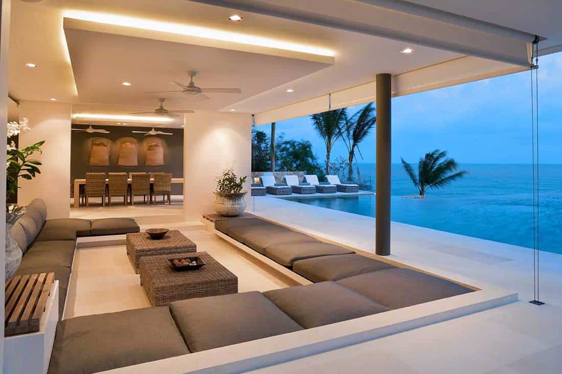 Living room in contemporary island villa