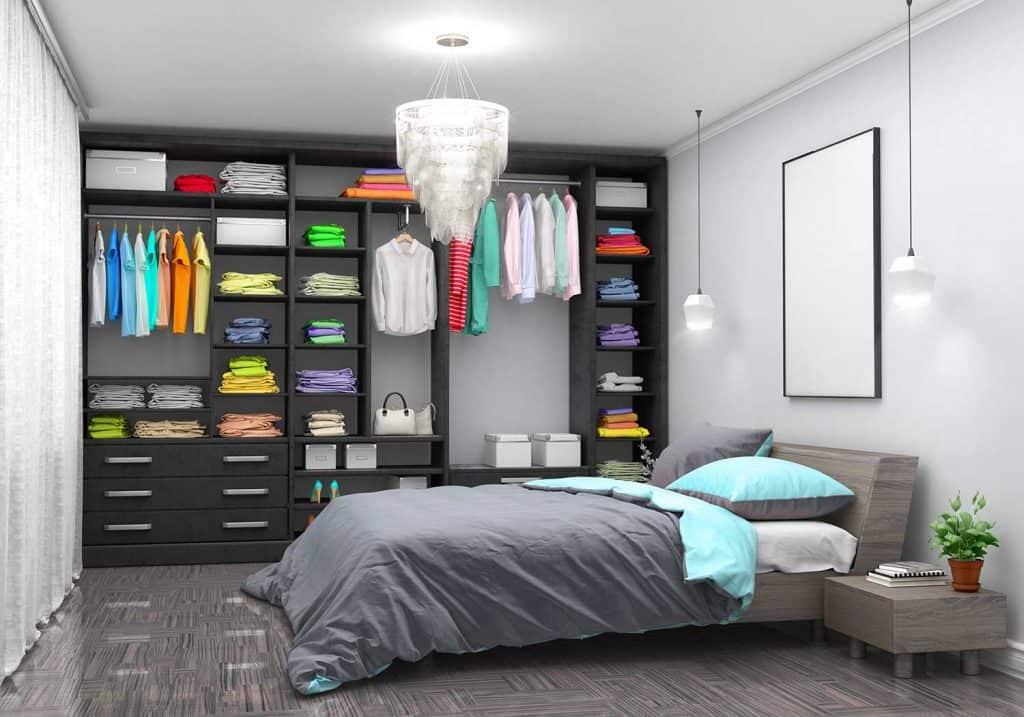 Luxury bachelor bedroom with chandelier