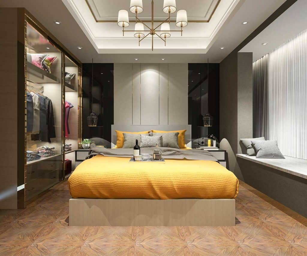 Luxury hotel bedroom with yellow bed and wardrobe