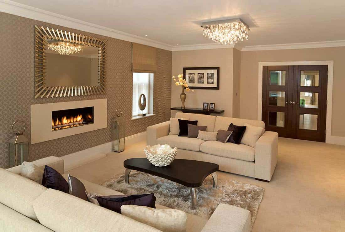 Luxury lounge with electric fireplace