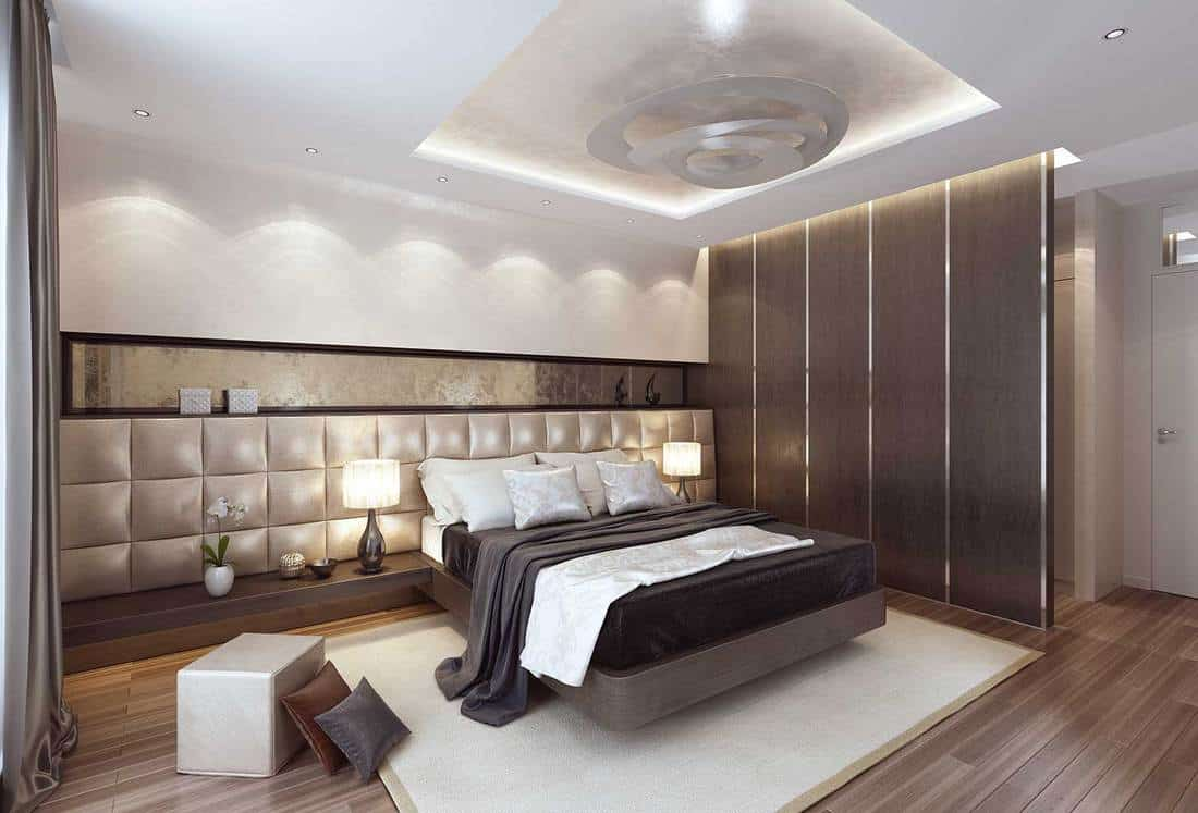 Luxury modern interior bedroom with large bed