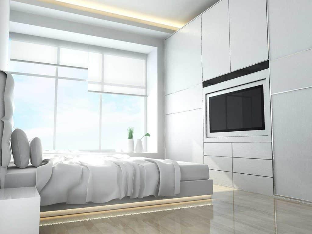 Luxury white bedroom with tv