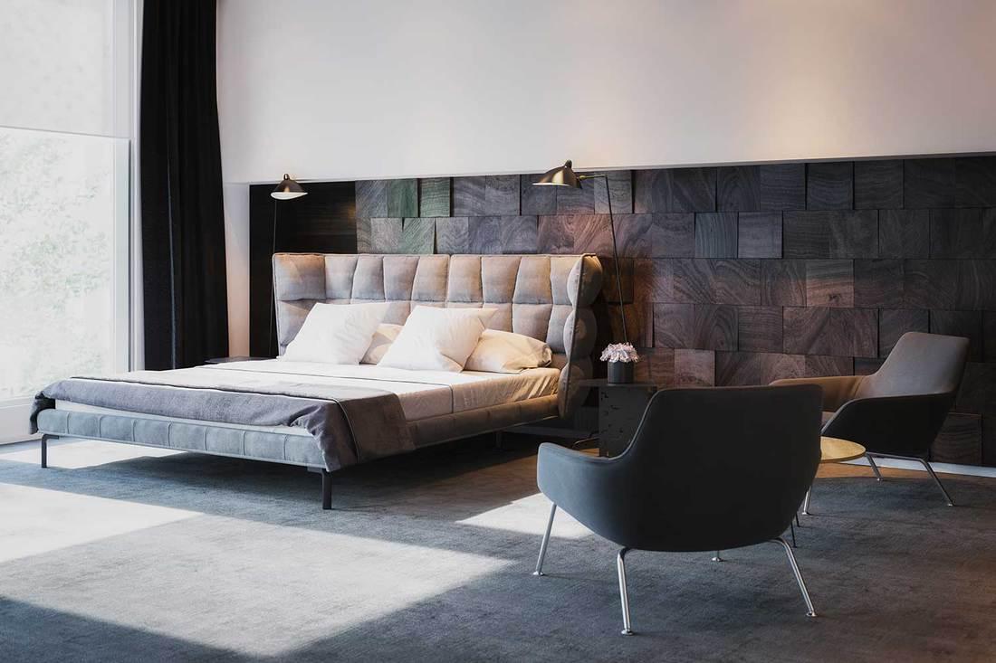 Minimalist black and white bedroom with luxury interior