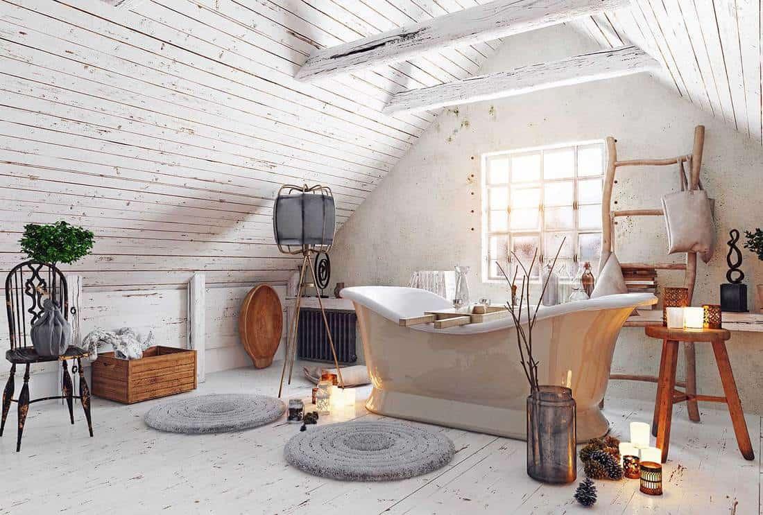 Modern attic white bathroom interior