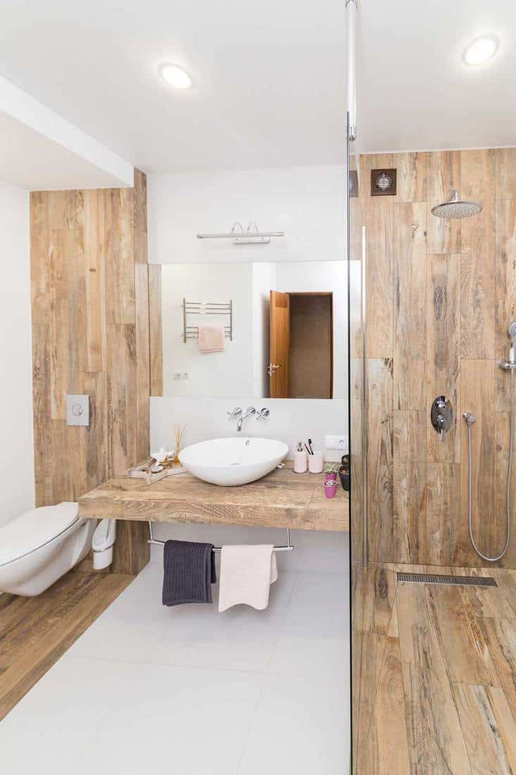 Modern bathroom interior combined with toilet