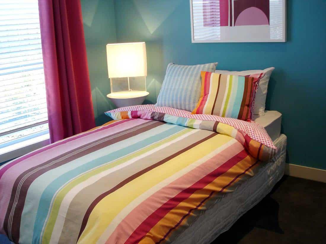 Modern bedroom in warm tones