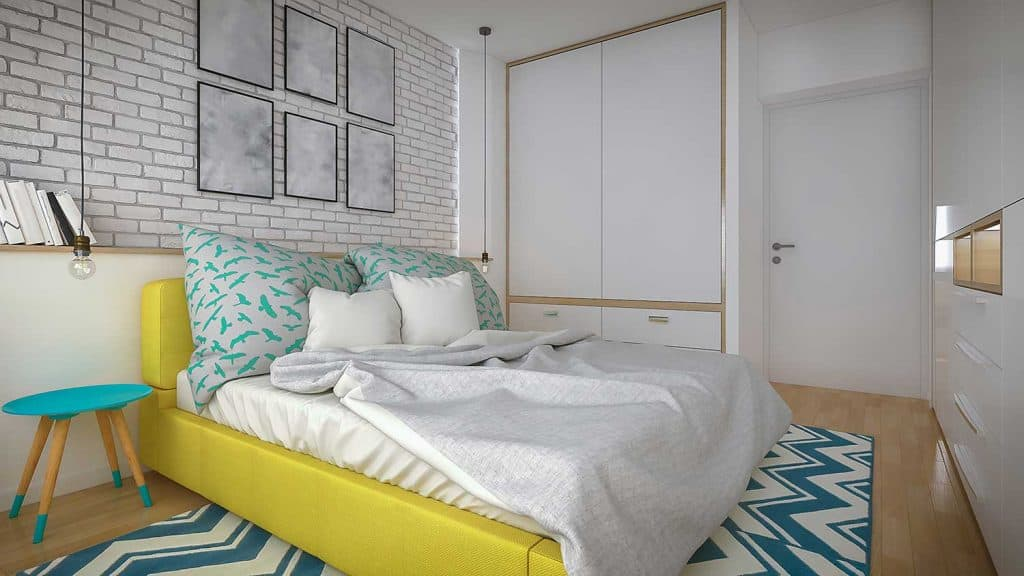 Modern bedroom with artistic interior